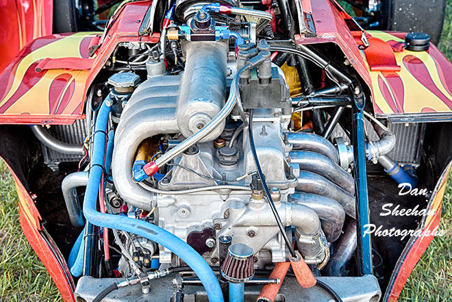 Detailed Look at Sports Car Motor At Gingerman Raceway In South Haven, Michigan