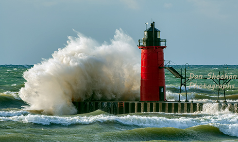 A Powerful Gale Force Wind Storm Punishes The South Haven, Michigan Lighthouse. Severe Storms Create Havoc On Fragile Great Lakes Shorelines. www.BlackWindSix.com