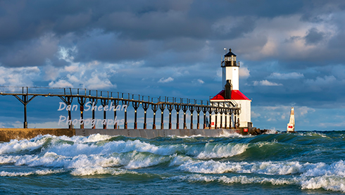 A Clearing Rain Storm At Dawn Provides A Dramatic Backdrop For The Michigan City, Indiana Lighthouse. This Historic Great Lakes Lighthouse Has Special Significance To Residents Of Michigan City, Indiana. Dan Sheehan Photographs