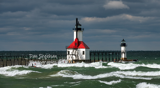 The St. Joseph, Michigan Lighthouse Photographed At Dawn During A Wind Storm. The Smaller Size Really Does Not Portray This Photo At Its' Best. The Prints From This Image Are Breathtaking. Dan Sheehan Photographs